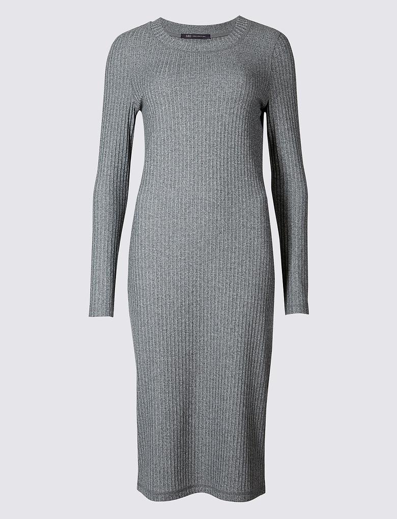 Uzun Kollu Triko Elbise