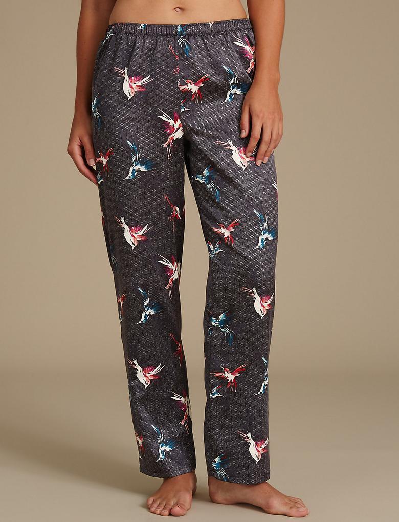 Desenli Saten Pijama