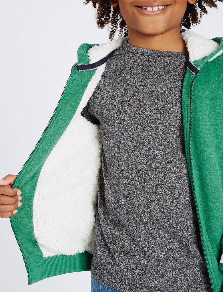 Yeşil Pamuklu Fermuarlı Sweatshirt (3 - 14 Yaş)