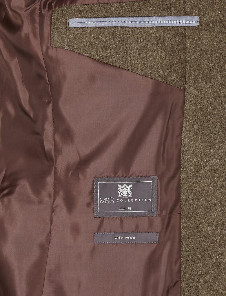 Kahverengi Kahverengi Dokulu Slim Ceket