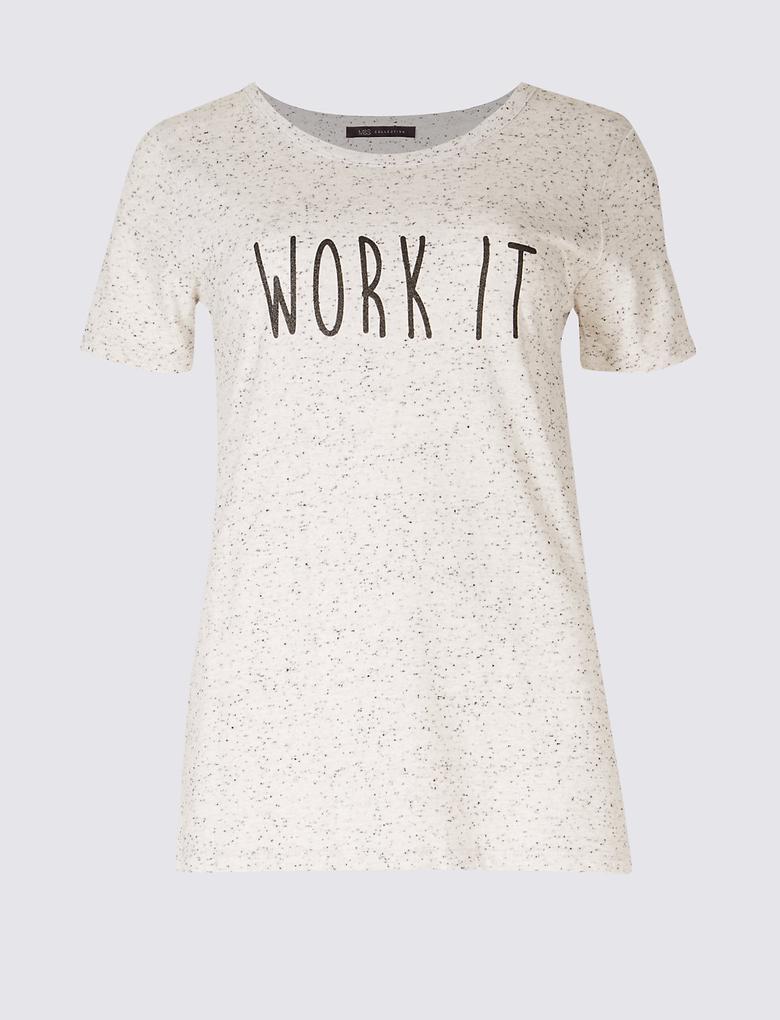 Pamuklu Desenli Kısa Kollu T-Shirt