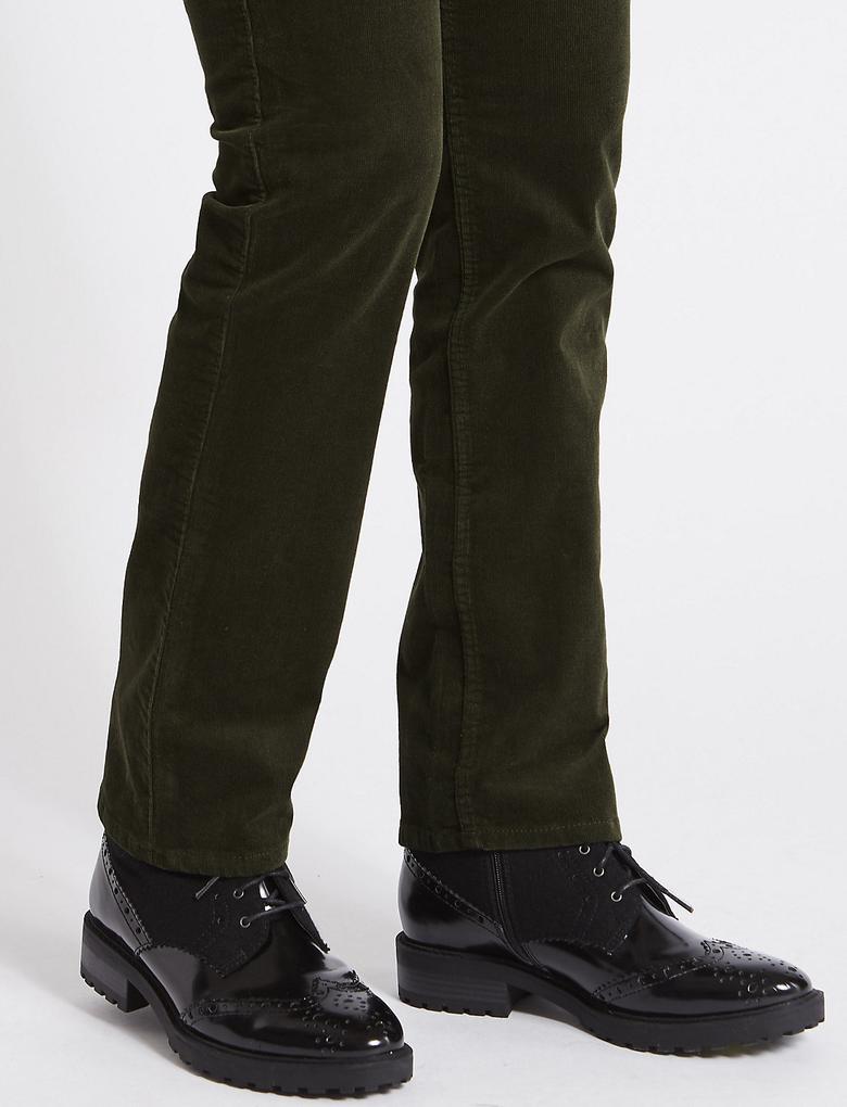 Yeşil Pamuklu Straight Kadife Pantolon