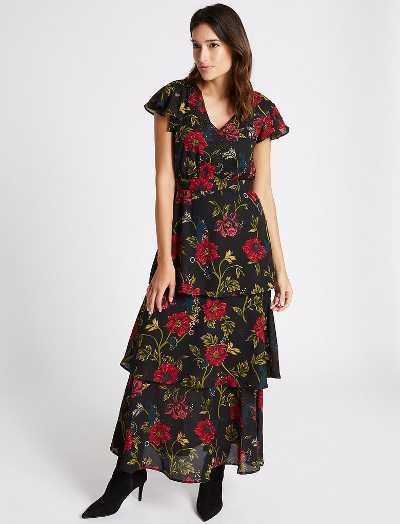 Siyah Çiçek Desenli Maxi Elbise