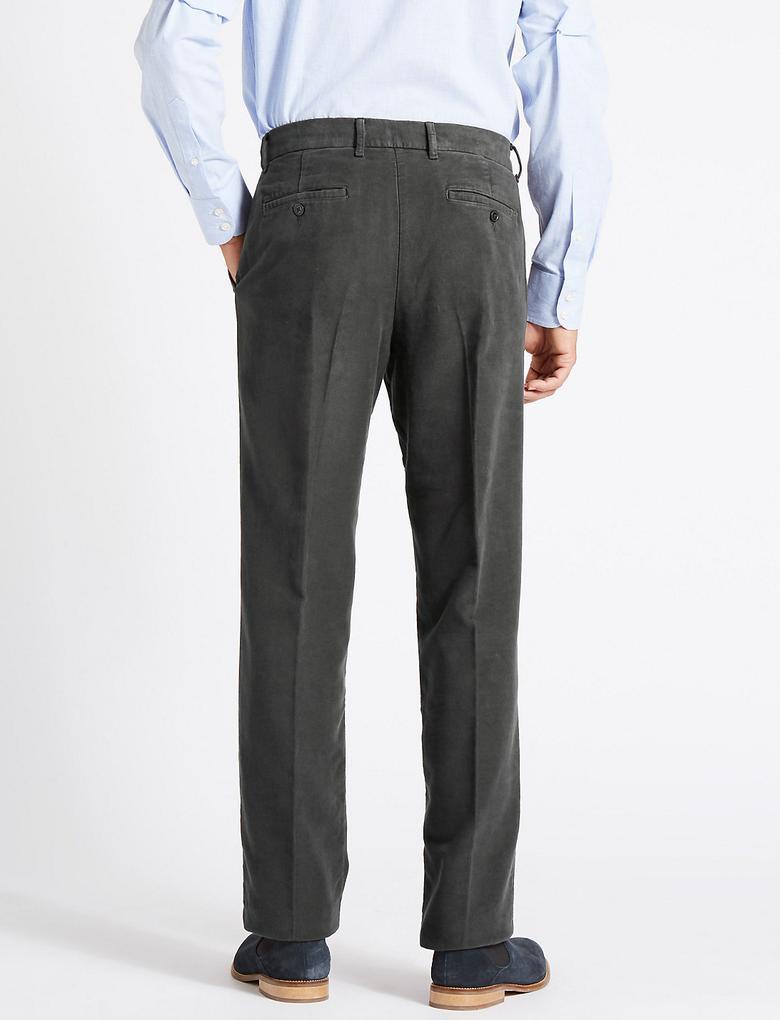 Erkek Gri Regular Saf Pamuklu Chino Pantolon