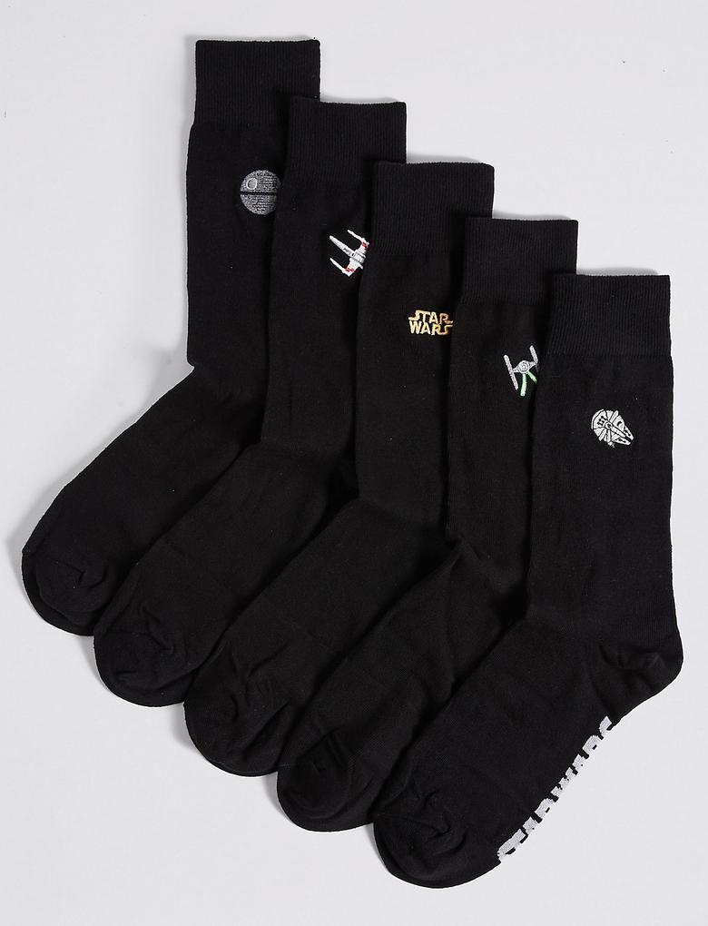 5'li Pamuklu Star Wars™ İşlemeli Çorap Seti
