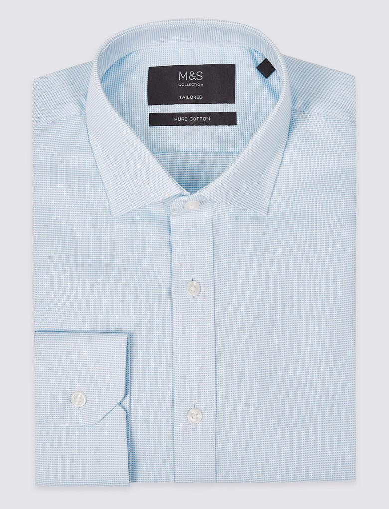 Saf Pamuklu Kolay Ütülenebilir Tailored Fit Gömlek
