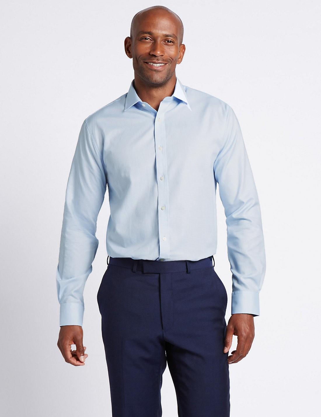 Saf Pamuklu Kolay Ütülenebilir Tailored Gömlek