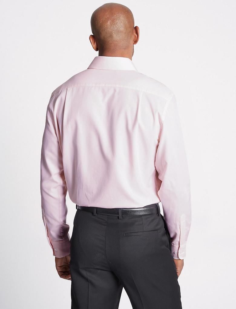 Erkek Pembe 2'li Kolay Ütülenebilir Regular Fit Gömlek