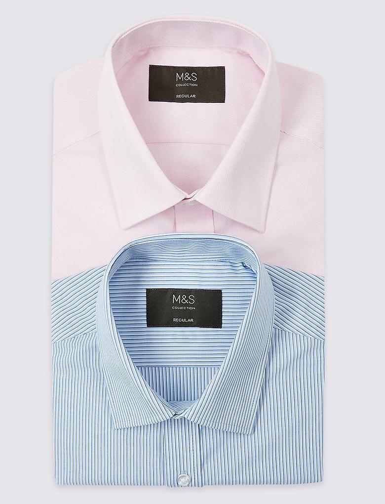 2'li Kolay Ütülenebilir Regular Fit Gömlek