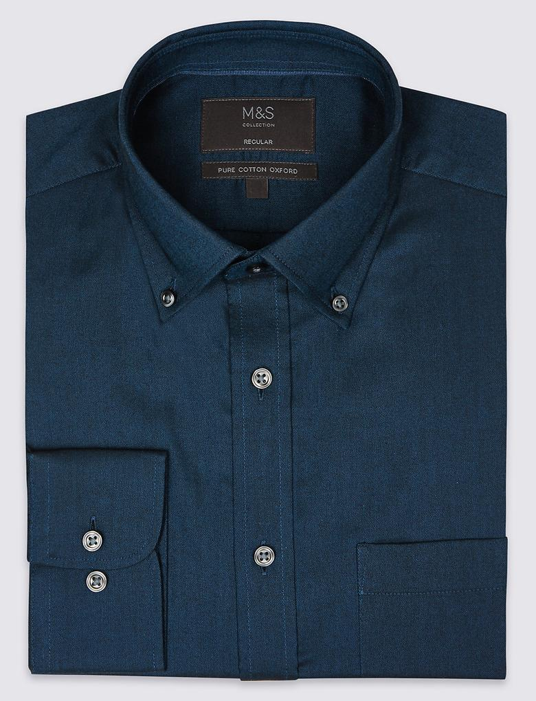 Kolay Ütülenebilir Regular Fit Oxford Gömlek