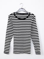 Uzun Kollu Çizgili Sıfır Yaka T-Shirt