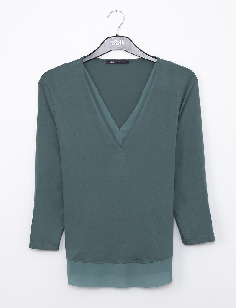 Yeşil V Yaka T-Shirt