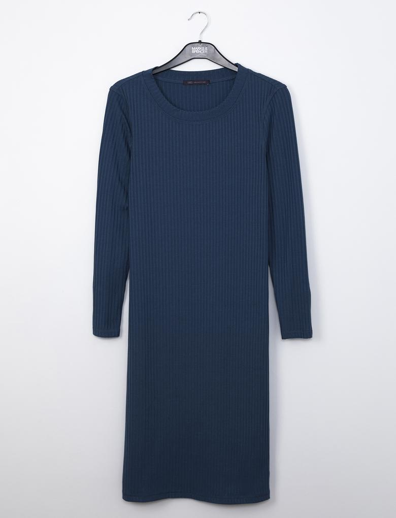 Lacivert Uzun Kollu Triko Elbise