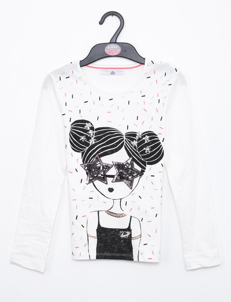 Bej Uzun Kollu T-Shirt