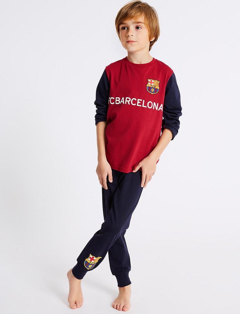 Mor Saf Pamuklu FC Barcelona Pijama Takımı (3 - 16 Yaş)