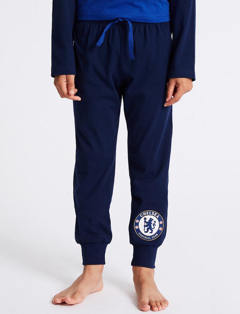 Saf Pamuklu Chelsea FC Pijama Takımı (3 - 16 Yaş)