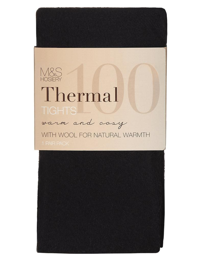 Siyah 100 Denye Termal Külotlu Çorap