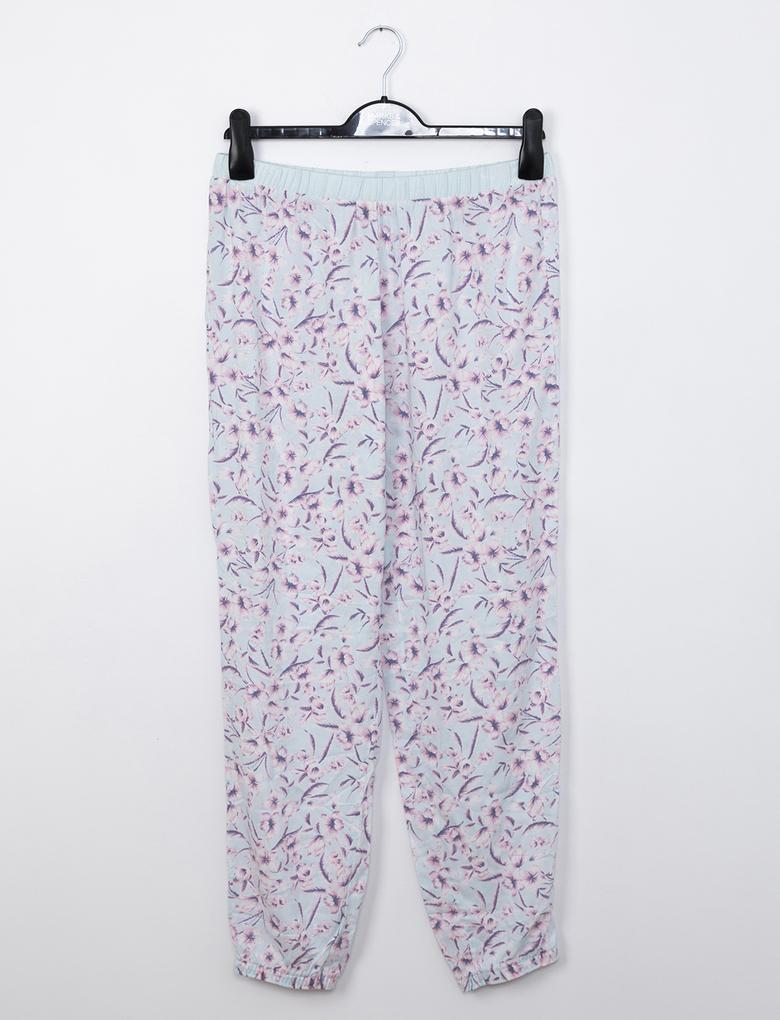 Yeşil Çiçek Desenli Pijama Altı
