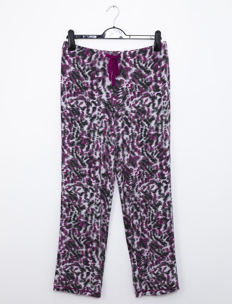 Mor Desenli Pijama Takımı