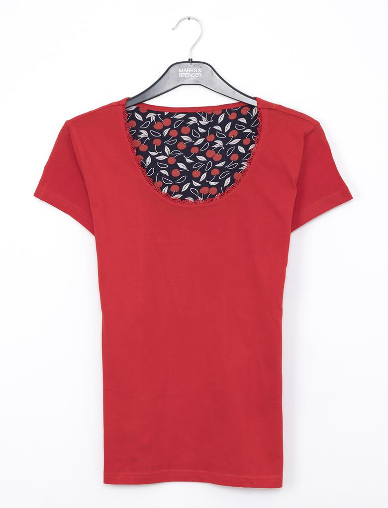Kırmızı Kiraz Desenli Pijama Takımı