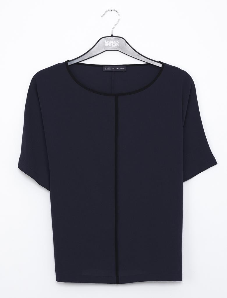 Lacivert Kısa Kollu Kimono Bluz
