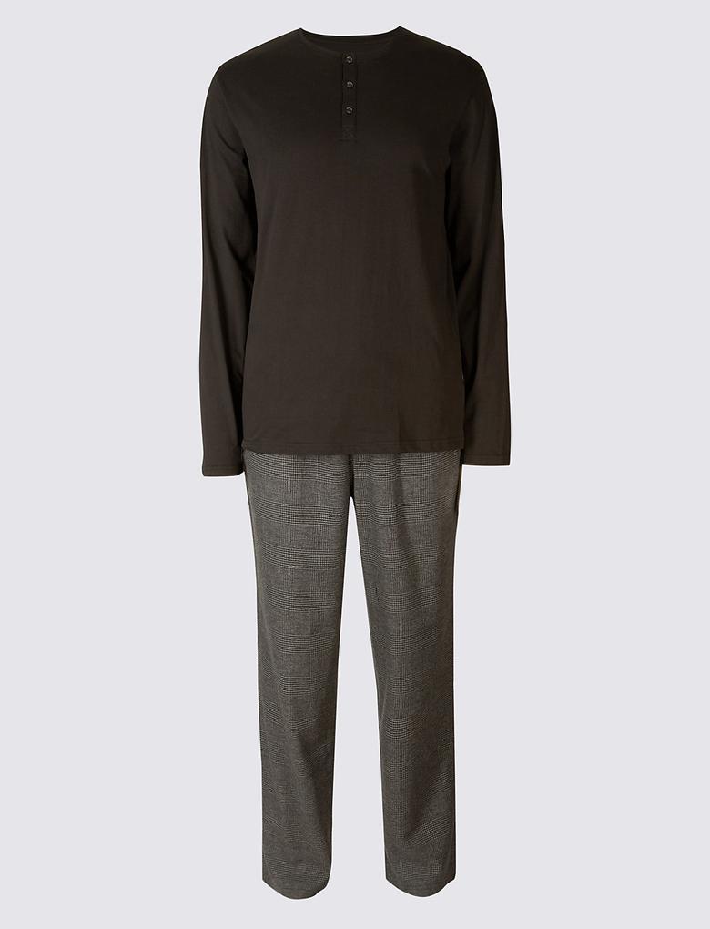 Gri Saf Pamuklu Ekose Pijama Takımı