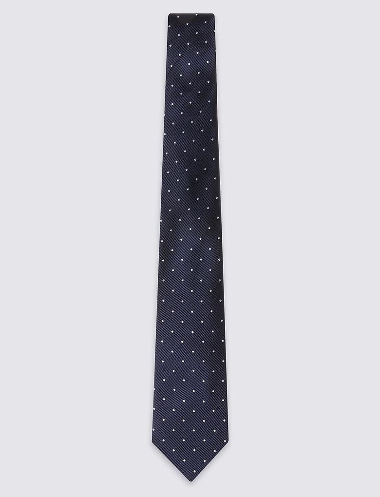 Saf İpek Noktalı Kravat