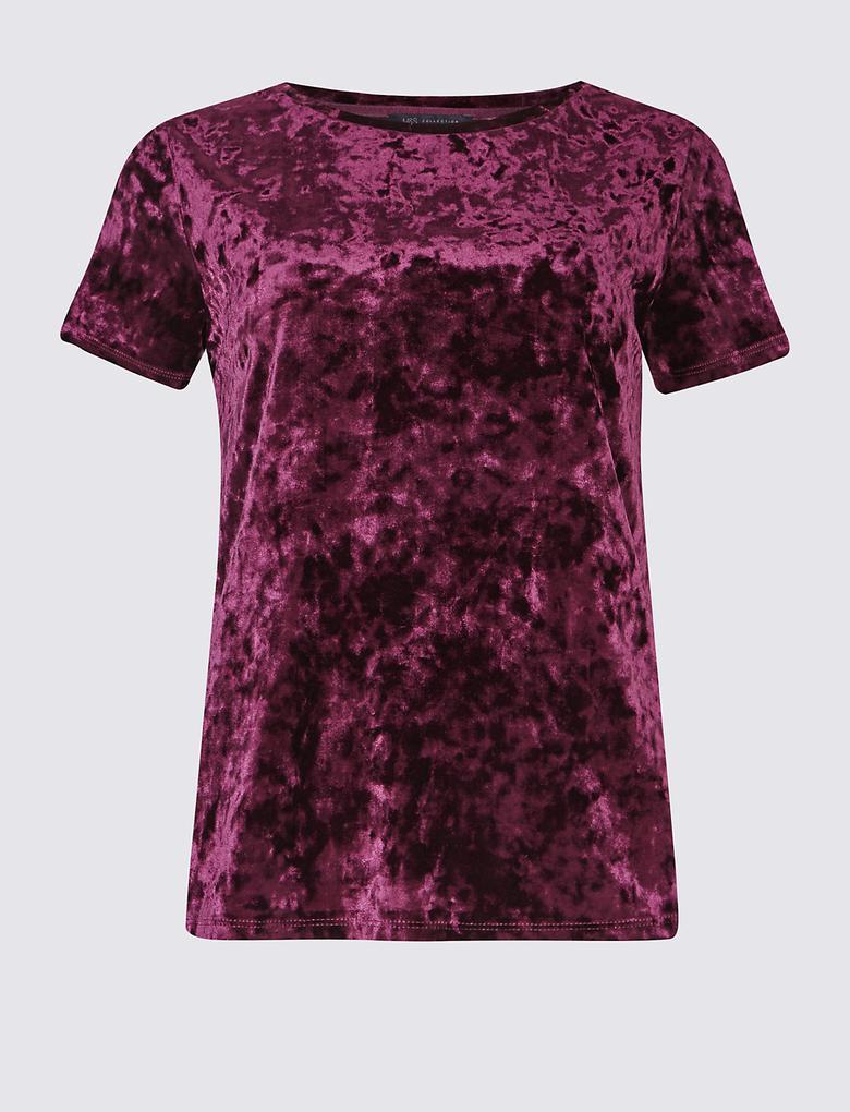 Kadife Kısa Kollu T-Shirt