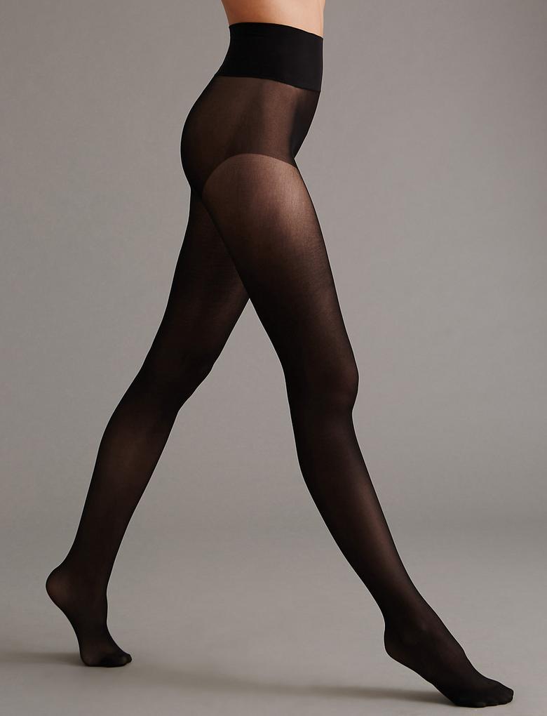 Siyah 20 Denye Kaçmaya Dayanıklı Dikişsiz Mat Külotlu Çorap