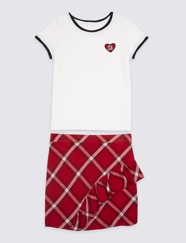 Kırmızı 2 Parça Saf Pamuklu T-Shirt ve Etek Takımı (3 - 14 Yaş)
