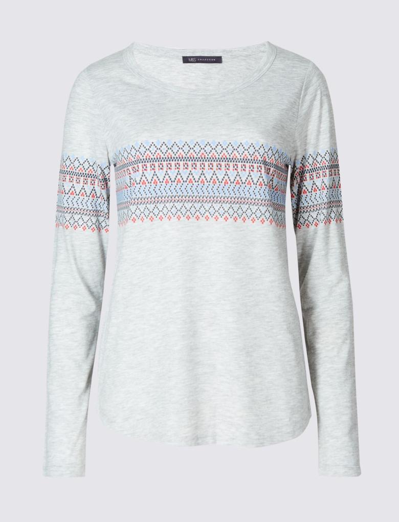 Desenli Uzun Kollu T-Shirt