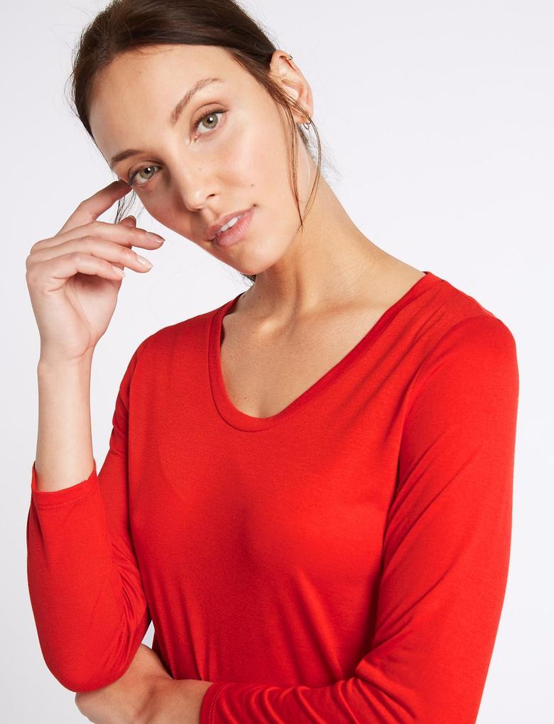 Kırmızı V Yaka 3/4 Kollu T-Shirt