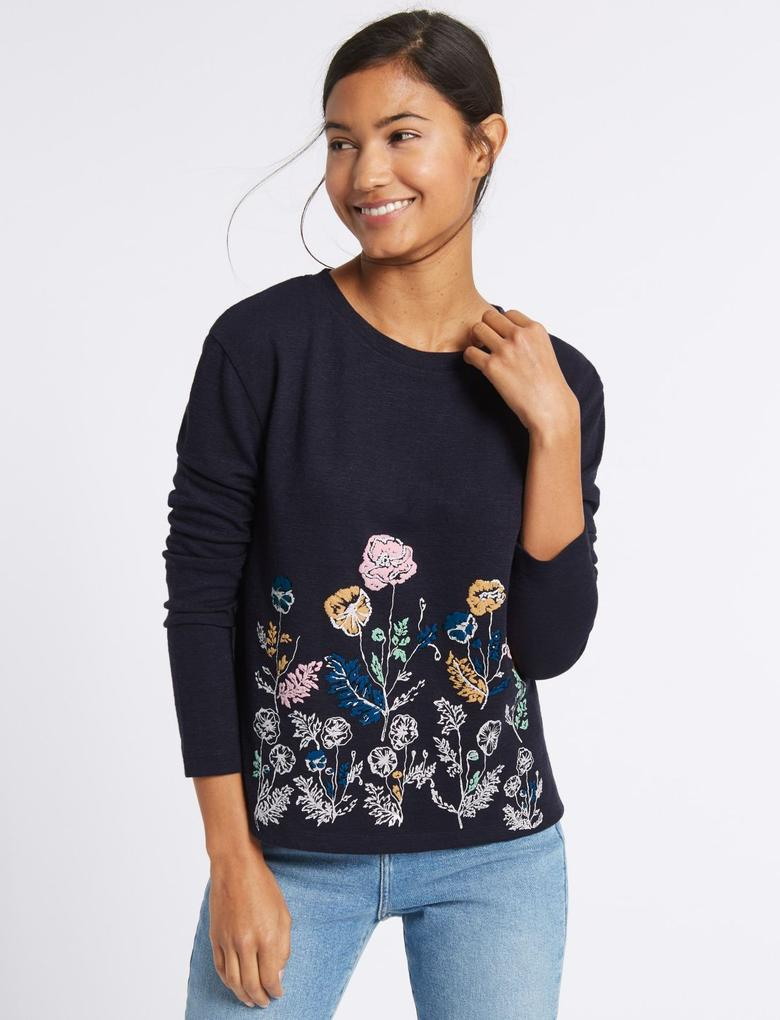 Çiçek Desenli Uzun Kollu Sweatshirt
