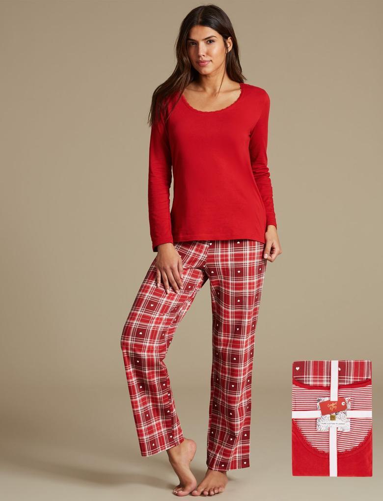 Saf Pamuklu Uzun Kollu StayNEW™ Pijama Takımı
