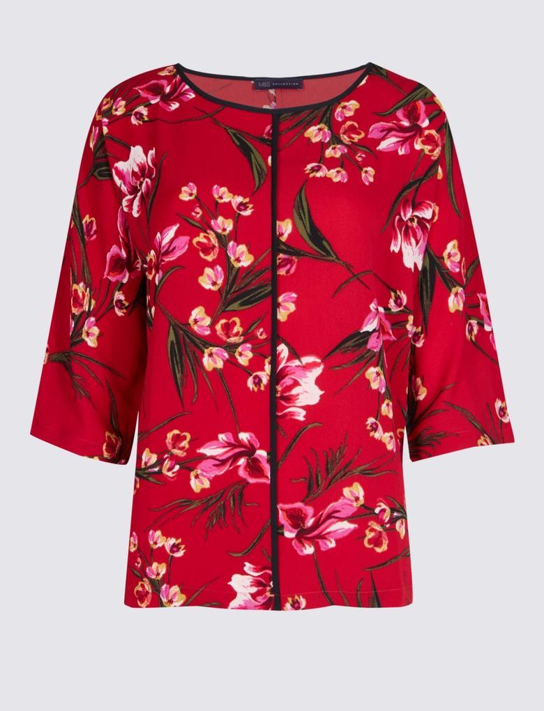 Çiçek Desenli Kimono 3/4 Kollu Bluz