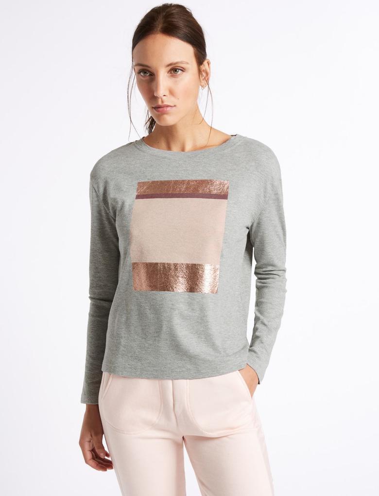 Gri Desenli Sweatshirt