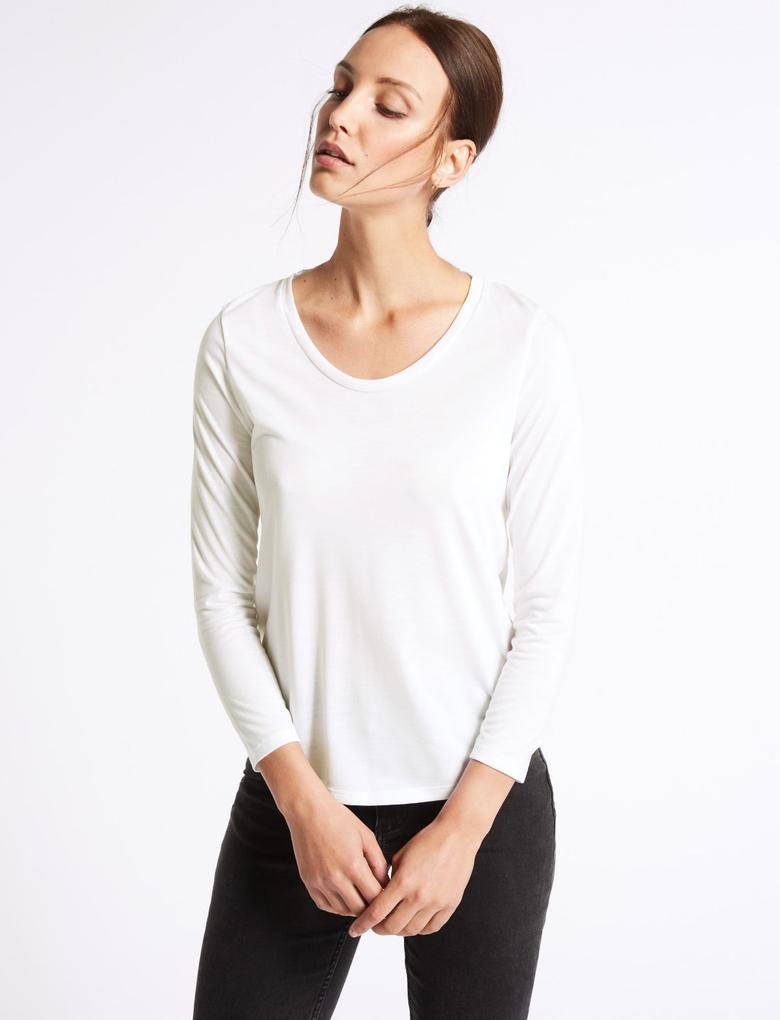 V Yaka 3/4 Kollu T-Shirt