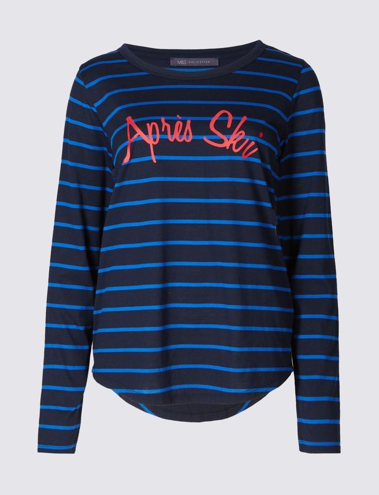 Apres Ski Çizgili Uzun Kollu T-Shirt
