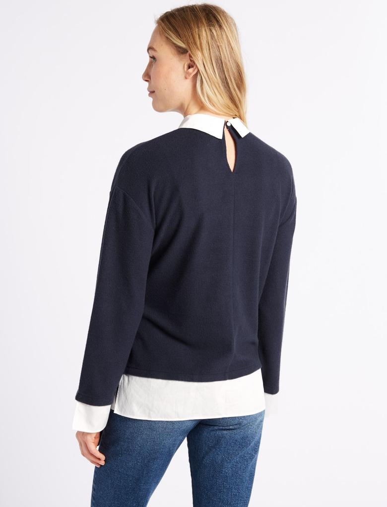 Lacivert Uzun Kollu Bluz