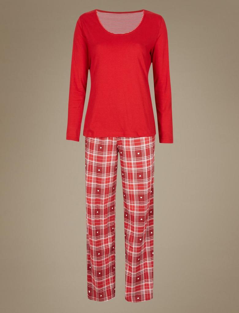 Kırmızı Saf Pamuklu Uzun Kollu StayNEW™ Pijama Takımı