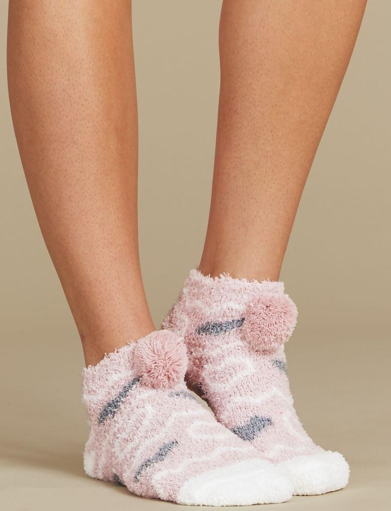 Pembe Ponponlu Çorap Terlik
