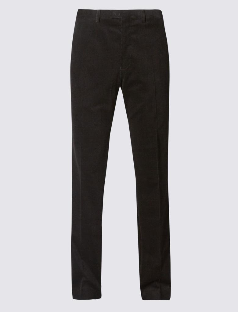 Siyah Tailored Fit Kadife Pantolon