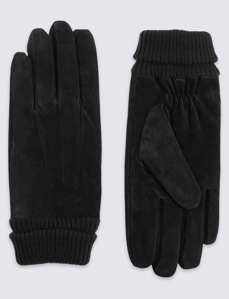 Siyah Süet Detaylı Eldiven (Thinsulate™ Teknolojisi ile)