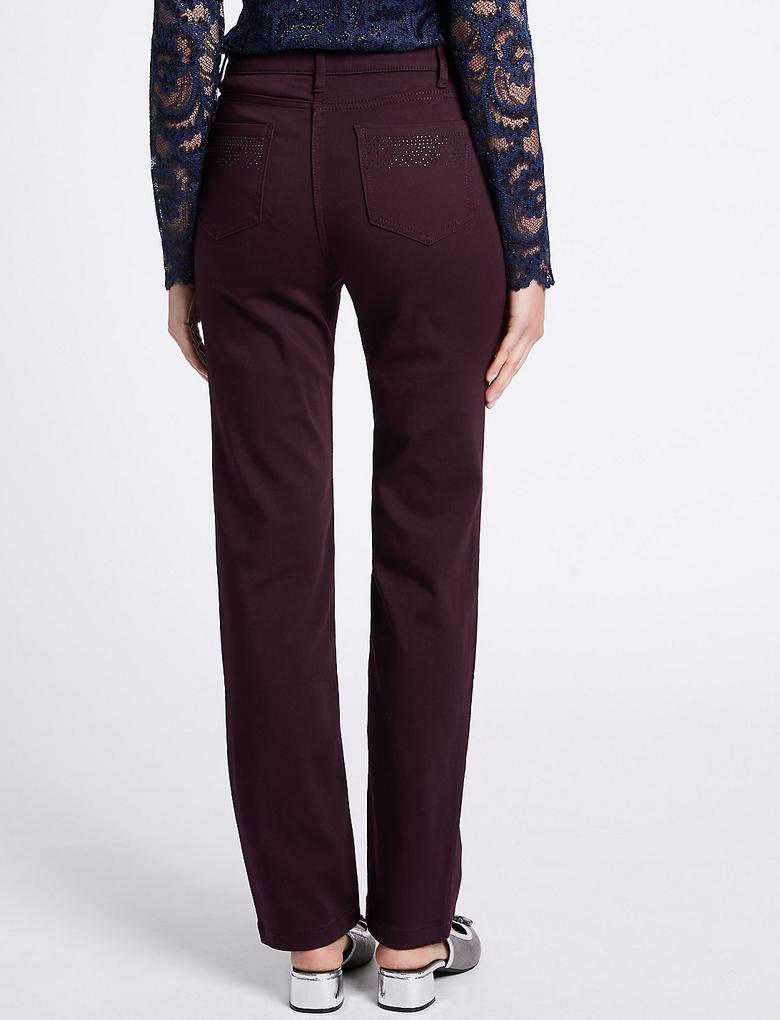 Kadın Kırmızı Straight Leg Jean Pantolon
