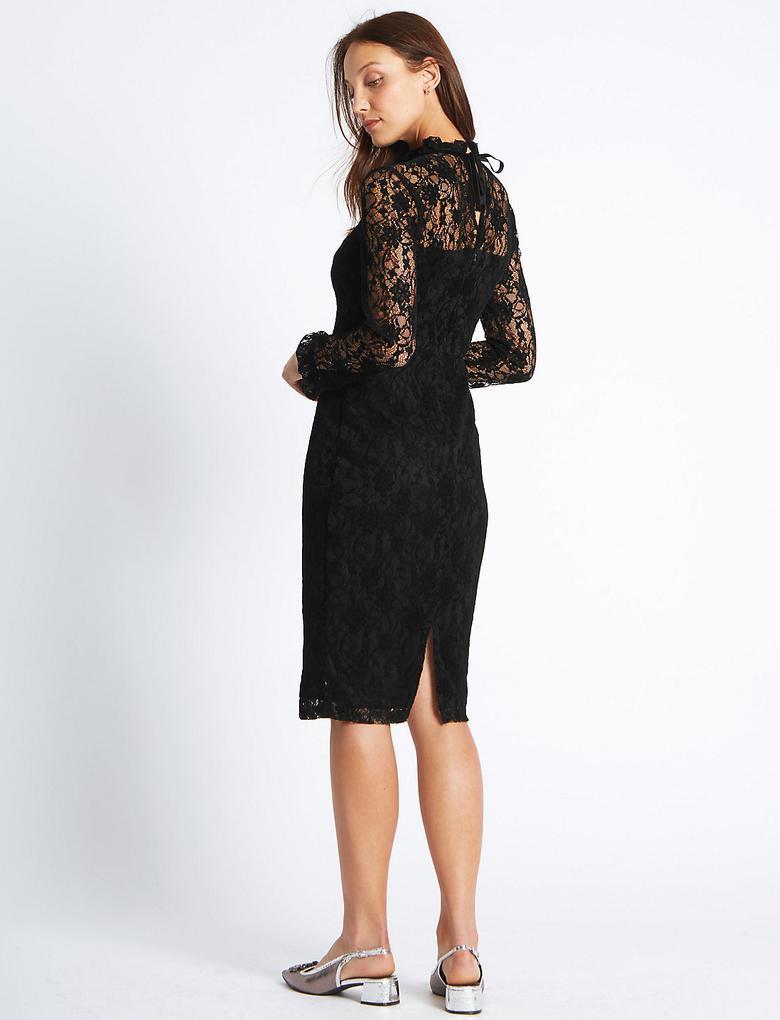 Dantelli Uzun Kollu Midi Elbise