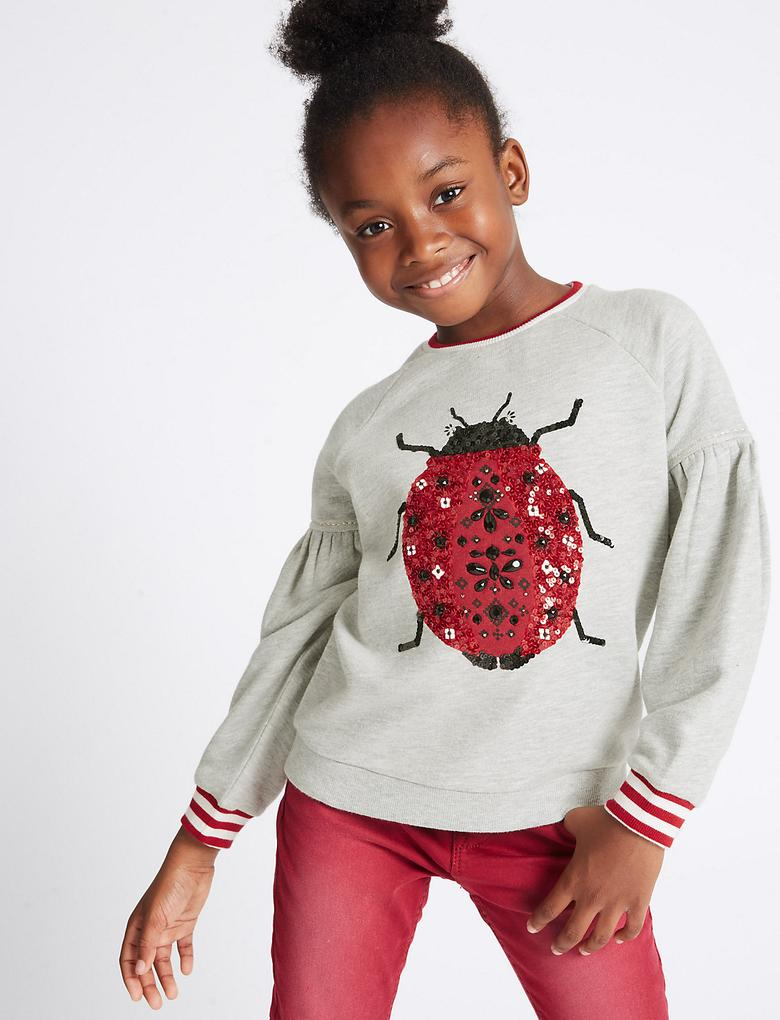 Gri Pul İşlemeli Sweatshirt (3 - 14 Yaş)