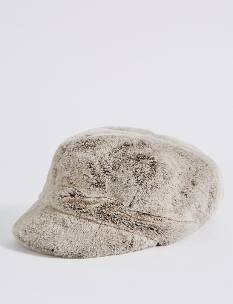Renksiz Kürklü Kışlık Şapka