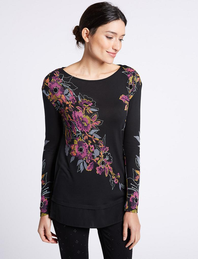 Pembe Çiçek Desenli Saten Detaylı Uzun Kollu Bluz