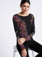 Çiçek Desenli Saten Detaylı Uzun Kollu Bluz
