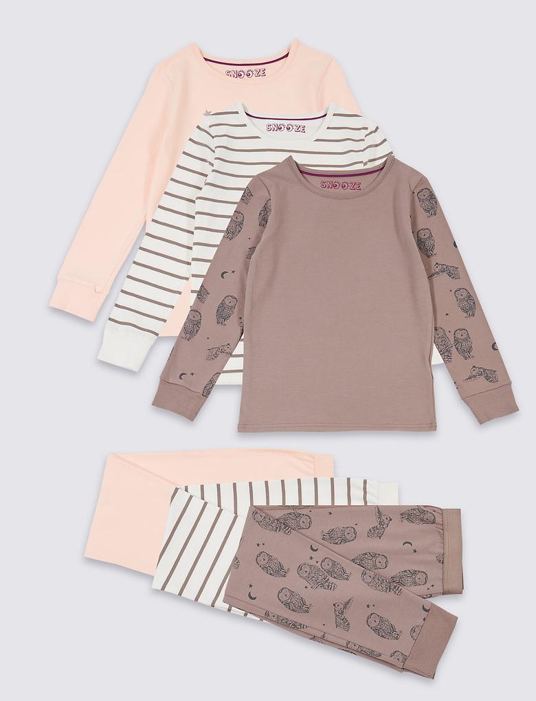 3'lü Streç Pijama Takımı (3 - 16 Yaş)